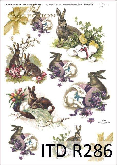 Wielkanoc, króliki, zające, kwiatki, wiosna, jajka, pisanki, R286