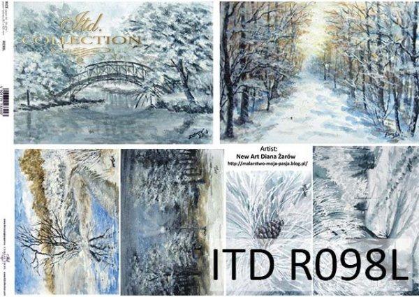 Papier decoupage malarstwo współczesne, zimowe pejzaże*Paper decoupage painting contemporary, winter landscapes