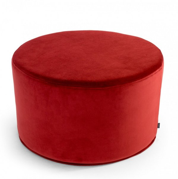 Duża czerwona pufa welurowa 60x30
