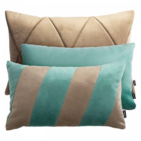 Beżowo miętowy zestaw poduszek dekoracyjnych Touch + Stripes