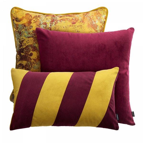 Złoto bordowy zestaw poduszek dekoracyjnych Stripes + Gold