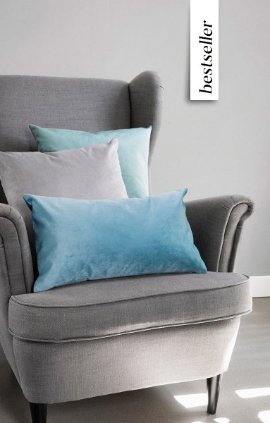 Szaro-miętowy zestaw poduszkek Velvet