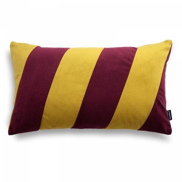 Stripes bordowo- złota poduszka dekoracyjna 50x30