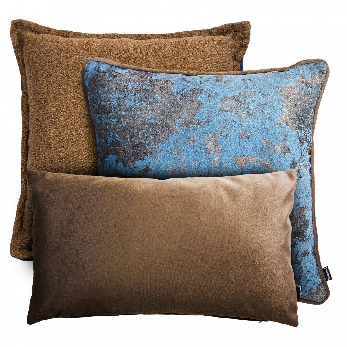Beżowy zestaw poduszek dekoracyjnych Tweed+Velvet+Gold