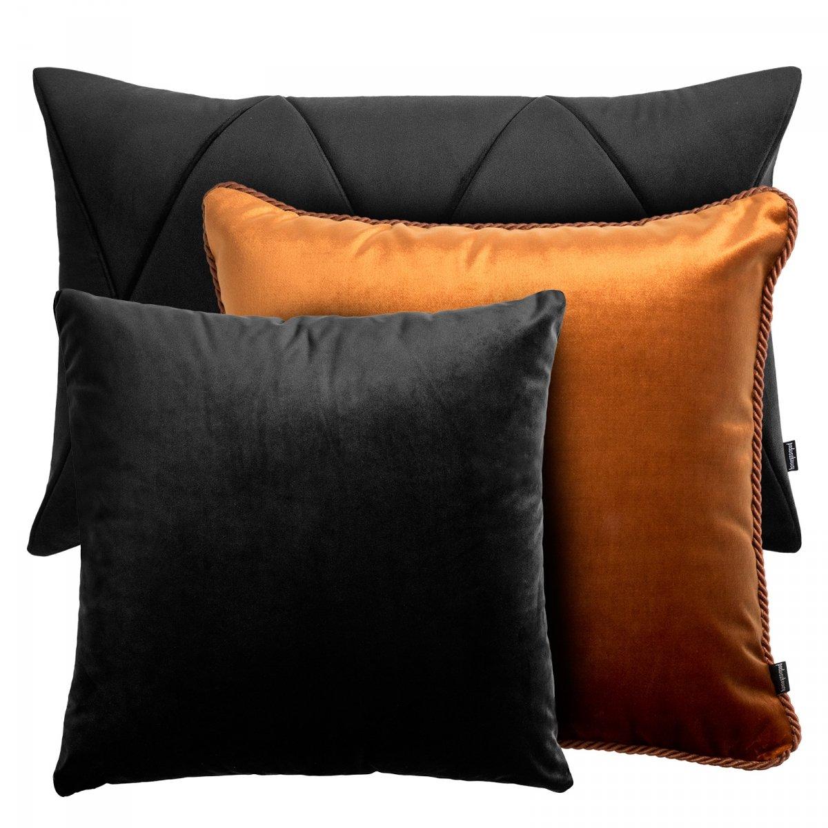 Czarno rudy zestaw poduszek dekoracyjnych Velvet + Glamour