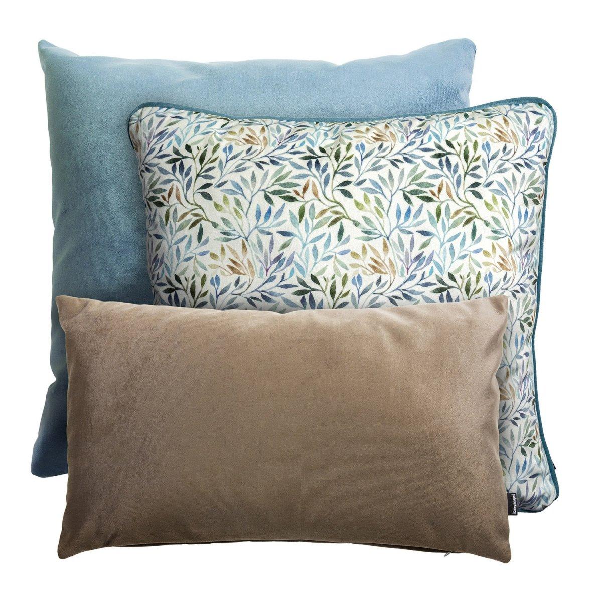 Błękitny zestaw poduszek gałązki oliwne
