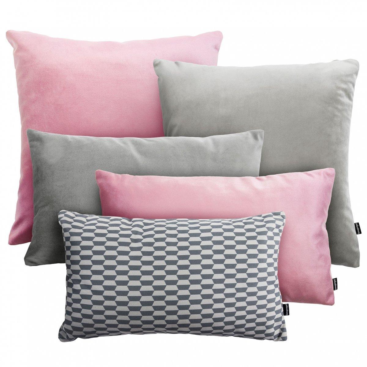Różowo Szary zestaw poduszek Velvet + Break