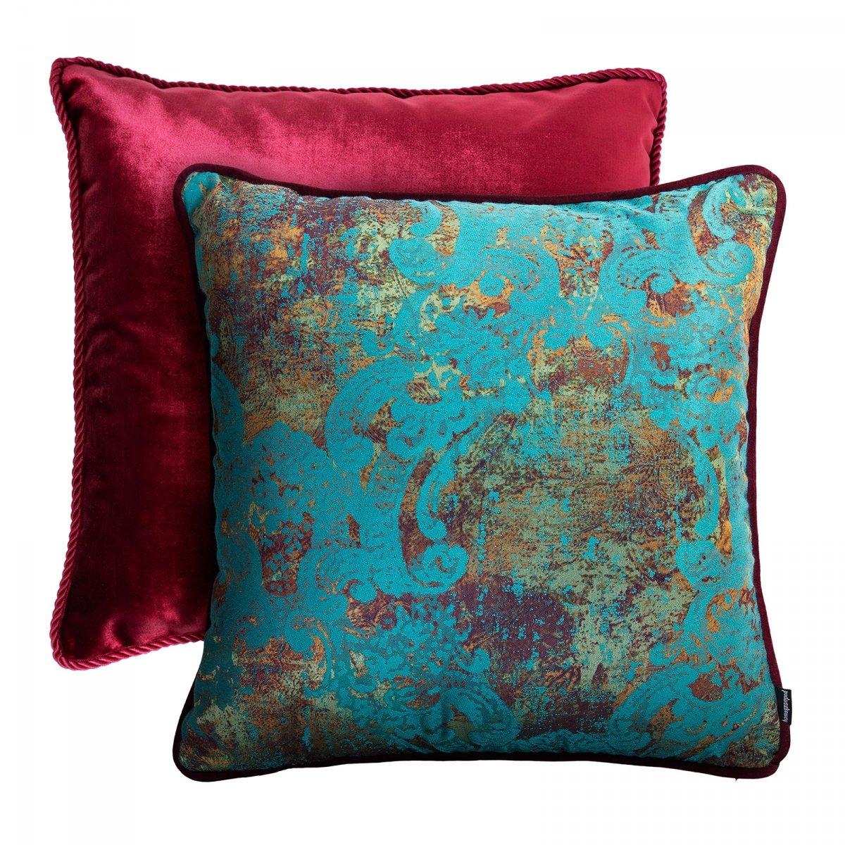 Bordowy zestaw poduszek dekoracyjnych Glamour+Gold