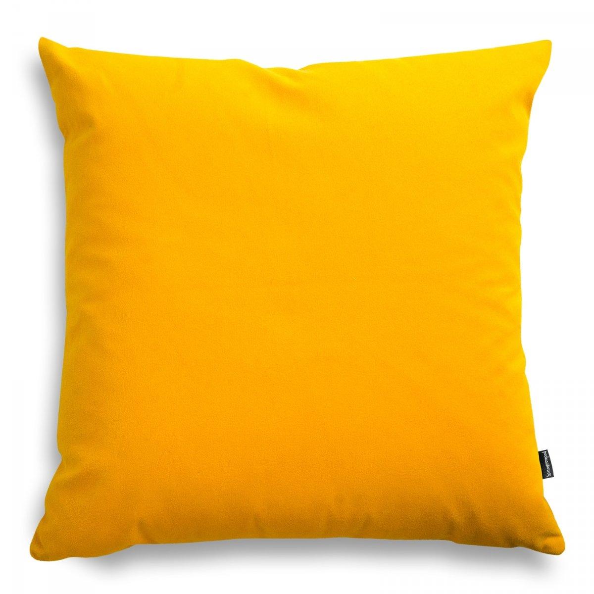 Pram żółta welurowa poduszka dekoracyjna 45x45 cm