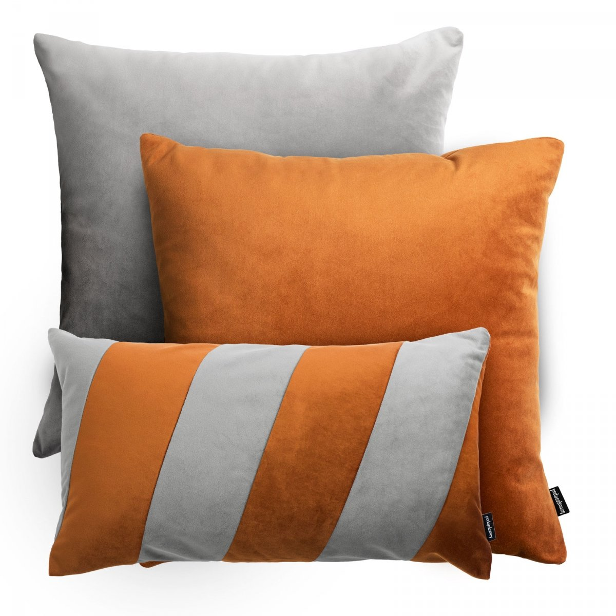 Rudo szary zestaw poduszek dekoracyjnych Velvet + Stripes