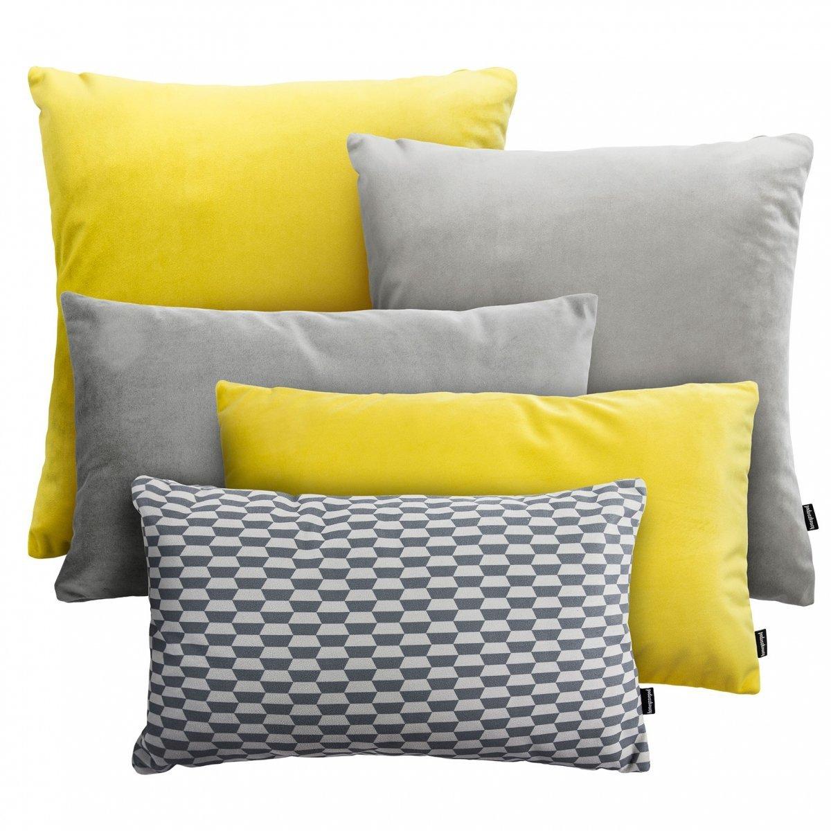 Żółto Szary zestaw poduszek Velvet + Break