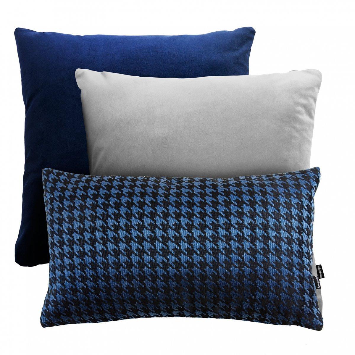 Granatowo-szary zestaw poduszek Velvet + Pepitka