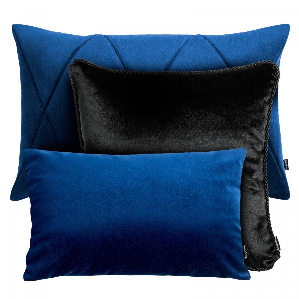 Granatowo czarny zestaw poduszek dekoracyjnych