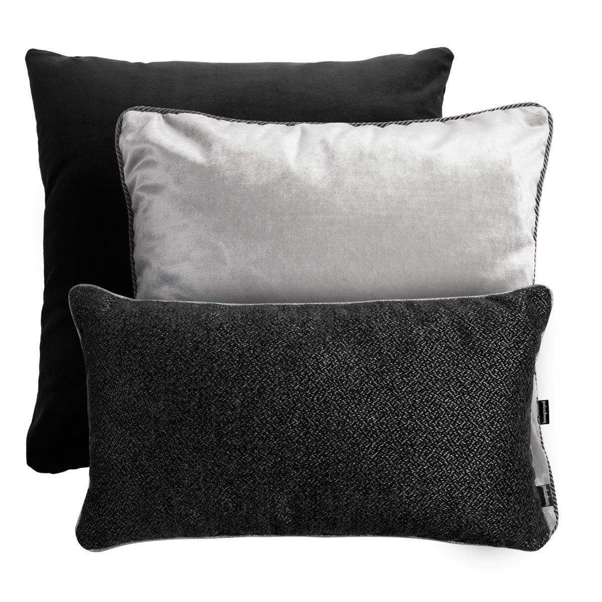 Srebrno czarny zestaw poduszek dekoracyjnych Alaska