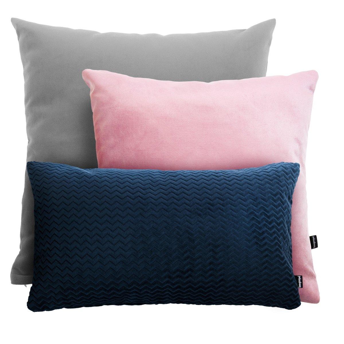 Szaro-różowo-granatowy zestaw poduszek Velvet + Chevron