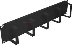 Organizator poziomy kabli 19 2U - z metalowymi uszami czarny
