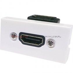 Moduł HDMI MOSAIC 22.5x45 biały, przelotowy, kątowy