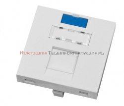 SOLARIX adapter prosty 2mod. 45x45mm pod keyston 1xRJ45 z plakietką opisową i klapką