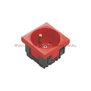EMITER gniazdo elektryczne 1x230 z uziemieniem i kluczem zwalniającym blokadę, czerwone 45x45, 2mod.