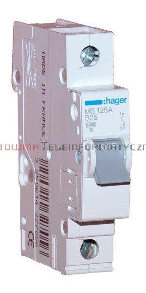 HAGER Wyłącznik/bezpiecznik nadprądowy 25A char B 6kA 1-bieg.
