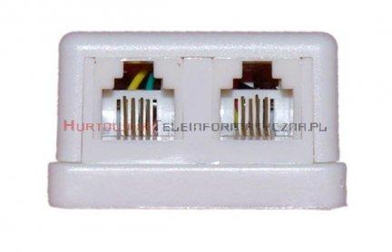 Gniazdo telefoniczne natynkowe 2 x RJ11 kompletne białe MIDI (prostokąt)