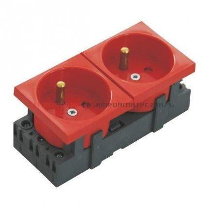 EMITER gniazdo elektryczne 2x230 z uziemieniem i kluczem zwalniającym blokadę, czerwone 90x45, 4mod.