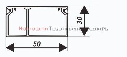 EMITER kanał / koryto kablowe PCW LS 50x30 z przegrodą stałą symet. białe