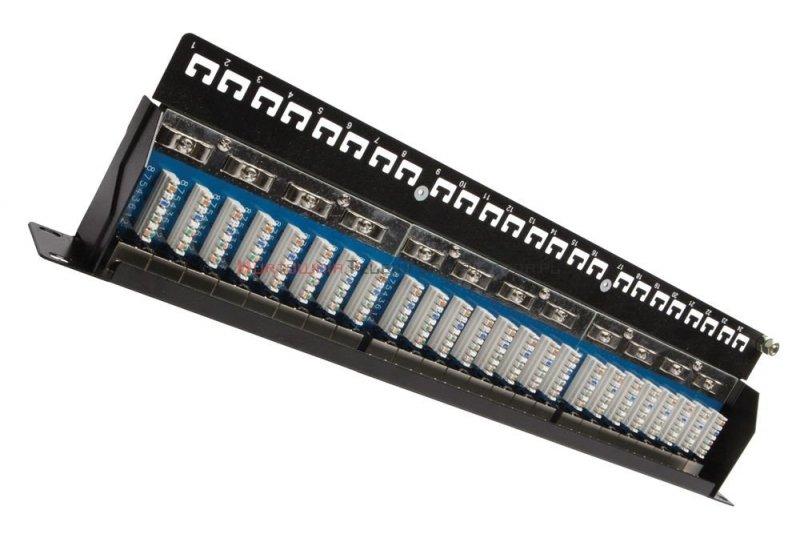 SOLARIX Patch Panel 24XRJ45 kat.5e FTP z półką, czarny 1U