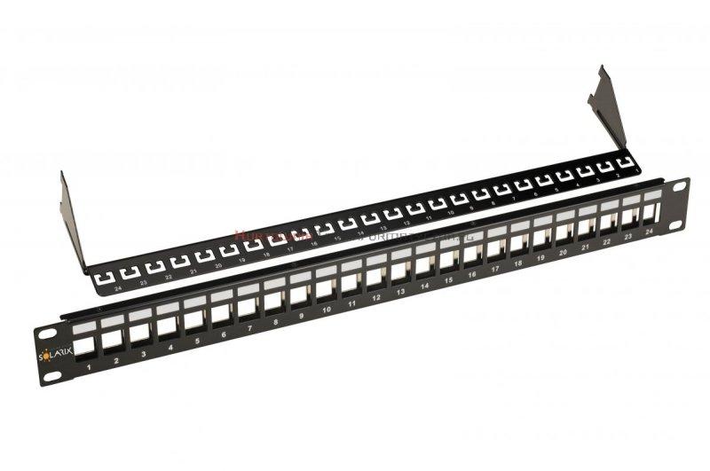 SOLARIX Patch Panel modularny 24 porty nieobsadzone, wsporniki, czarny 1U