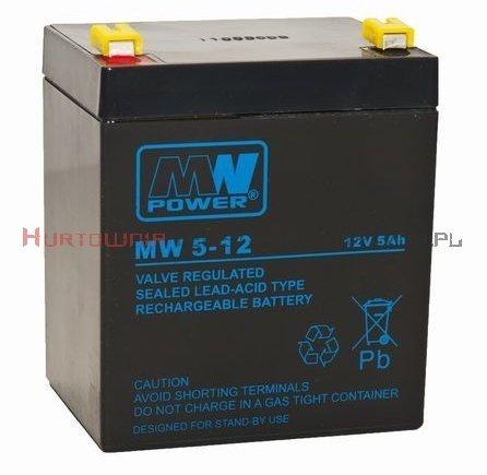 MW POWER Akumulator AGM 12V 5,0 Ah, przyłącze F2 6,3mm  (6-9lat)