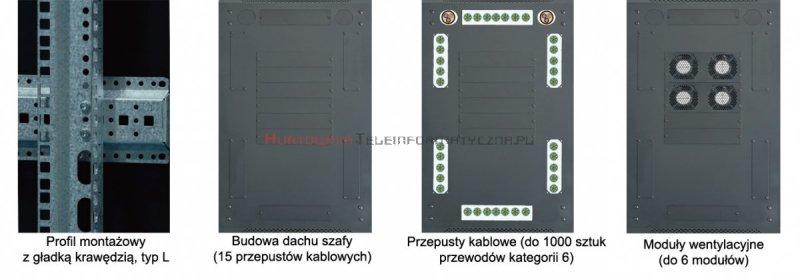 """TOTEN Szafa RACK 19"""" stojąca G7 22U 600x800mm, drzwi blacha/szkło szara"""