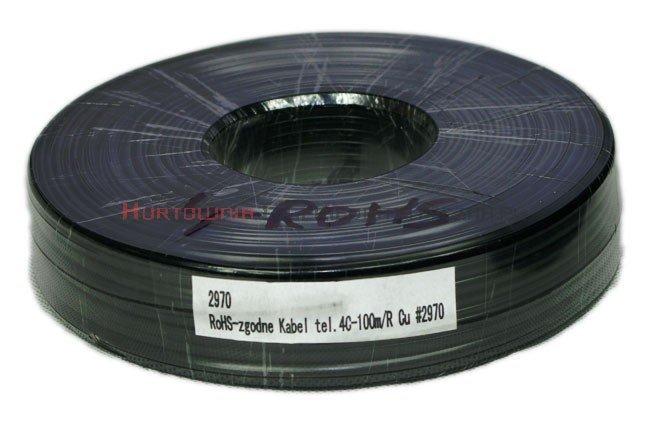 Kabel telefoniczny płaski 4-żyłowy czarny krążek 100m RoHS