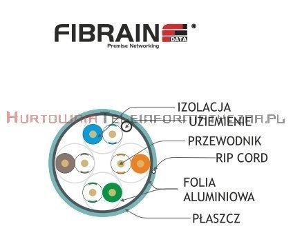 FIBRAIN DATA Rapid kat.6A F/FTP 500Mhz, drut, LSZH turkusowy (500m)