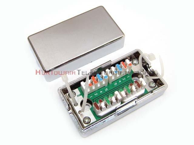 Łącznik kabla kat. 5e, LSA, FTP, obudowa plastikowa, srebrna