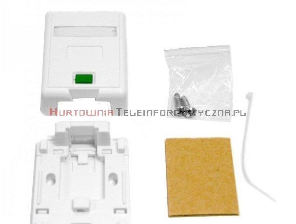 Moduł puszka/gniazdo, natynkowy na 1 x keystone z etykietą i ID