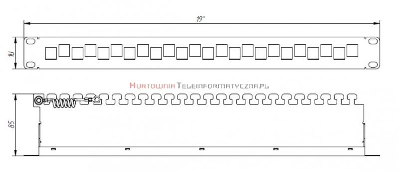 FIBRAIN DATA Patch Panel modularny 1U na 24 moduły keystone, z organizerem i polem opisowym, czarny (niewyposażony)