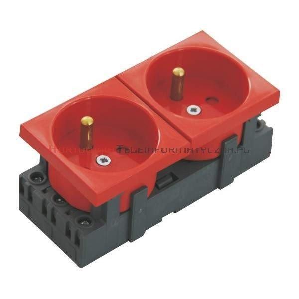 JAVEL gniazdo elektryczne 2x230 z uziemieniem, czerwone, 90x45 4mod.