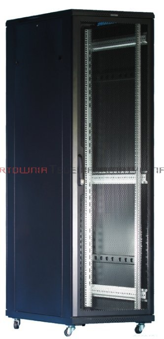 """TOTEN Szafa RACK 19"""" stojąca G7 22U 600x800mm, drzwi blacha/szkło czarna"""