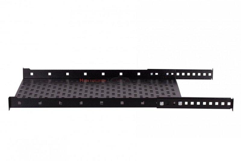 """SABAJ Półka stała 19"""", 1U, o gł. 350 mm., mocowana z przodu, czarna"""