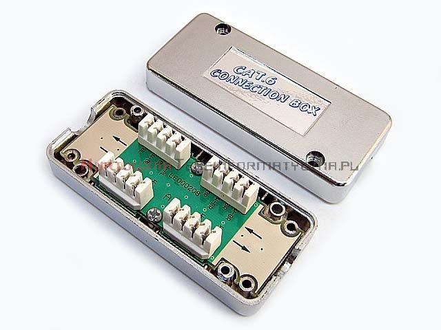 Łącznik kabla kat. 6, LSA, UTP/FTP, obudowa plastikowa srebrna