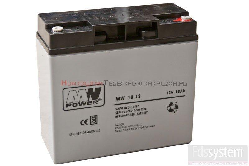 MW POWER Akumulator AGM 12V 18,0 Ah, przyłącze gwint wewnętrzny (3-5lat),