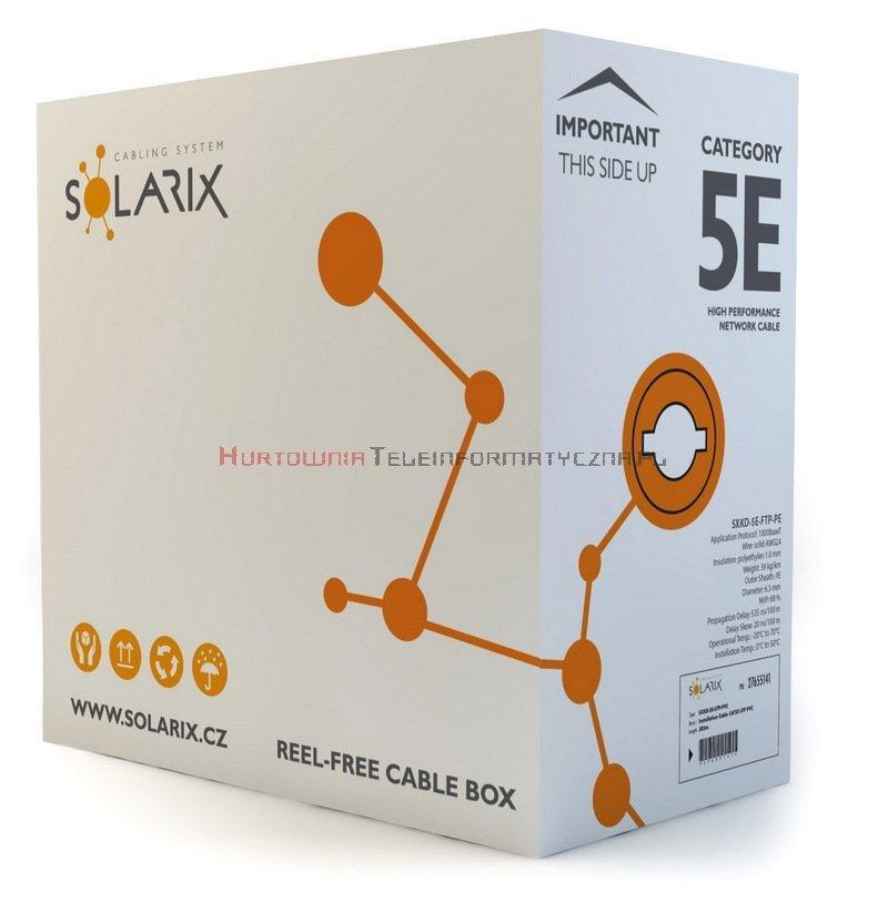 SOLARIX kabel F/UTP, drut, zewnętrzny suchy, czarny, kat.5e - 305m
