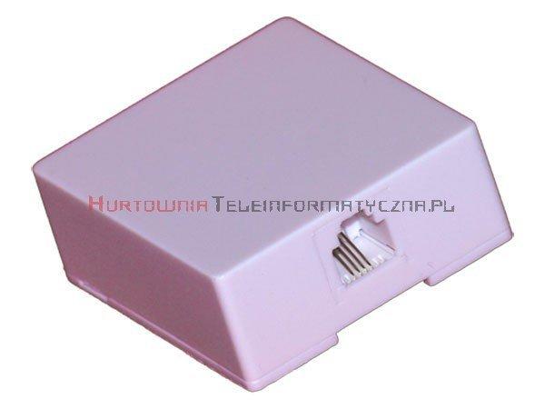 Gniazdo telefoniczne natynkowe 1 x RJ11 kompletne białe STANDARD (kwadrat)