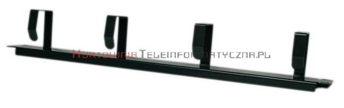 """BKT Organizator poziomy kabli 19"""" 1U - z metalowymi uszami czarny"""