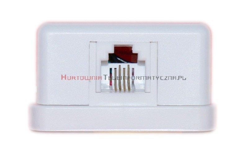 Gniazdo telefoniczne natynkowe 1 x RJ11 kompletne białe MIDI (prostokąt)