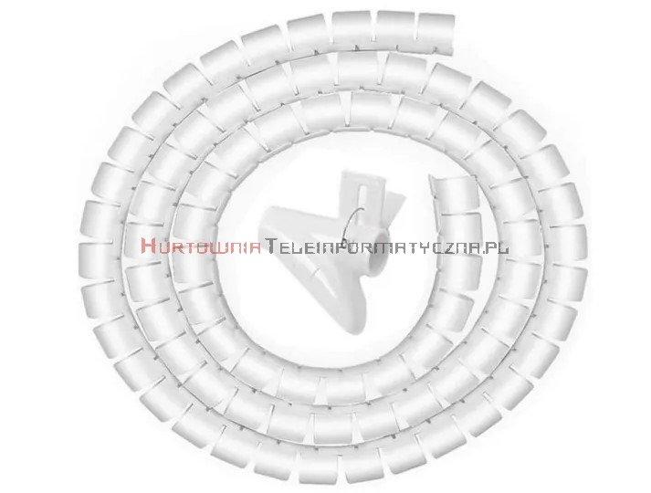 Organizator kabli okrągły spiralny fi30mm / 2m biały