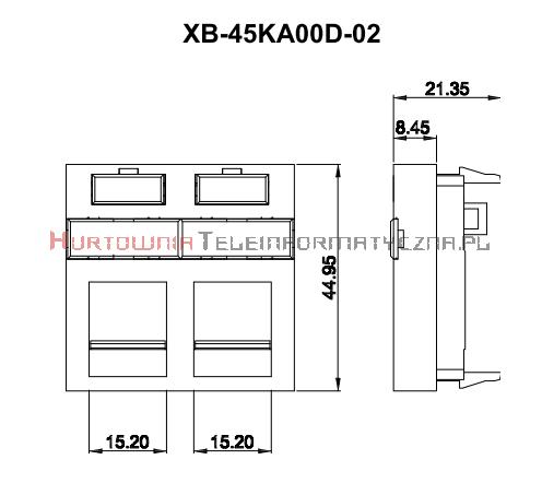 FIBRAIN DATA adapter prosty 2mod. 2xRJ45 z plakietką opisową i klapką.