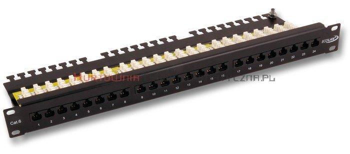 """Patch Panel 19"""" RJ-45 24 porty UTP, Kat.6 z półką, czarny"""