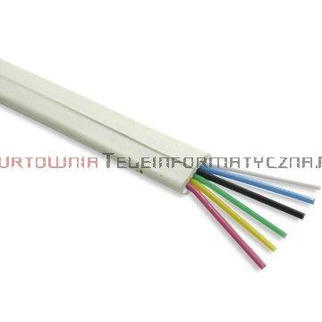 Kabel telefoniczny płaski 6-żyłowy biały