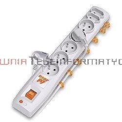 Acar P7 listwa zasilająca, 7x230, wyłącznik, bezpiecznik, 3.0m, szara